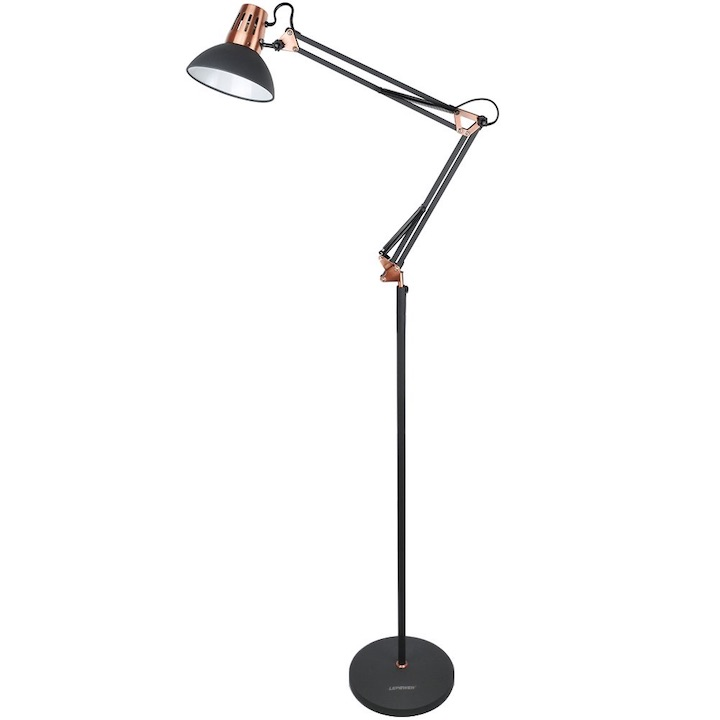 LEPOWER  Metal Floor Lamp, Architect Swing Arm Standing Lamp with Heavy Metal  Based, Adjustable Head Reading Light for Living Room, Bedroom, Study  Room and Office